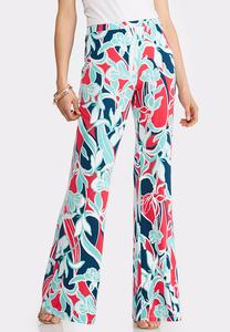 Petite Bold Floral Palazzo Pants