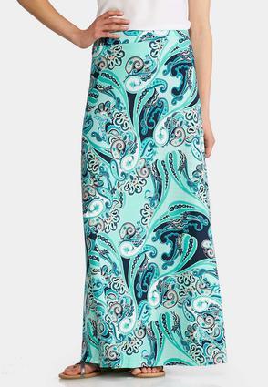 Plus Size Aqua Paisley Maxi Skirt   Tuggl