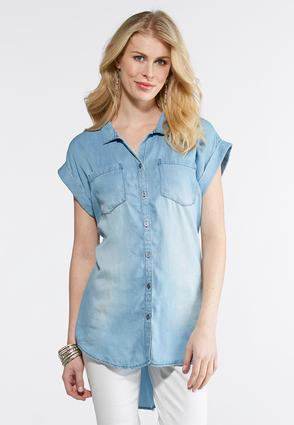 Plus Size Chambray High- Low Top
