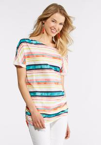 Plus Size Washed Stripe Tie Hem Top