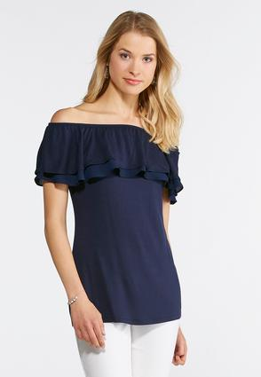 Plus Ruffled Off The Shoulder Top