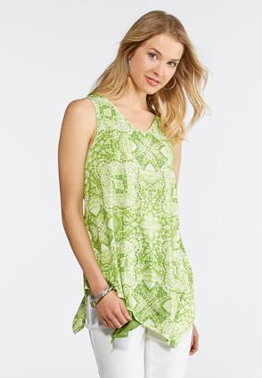Lime Embellished Asymmetrical Tank