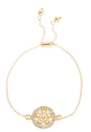Floral Rhinestone Pull-String Bracelet | Tuggl
