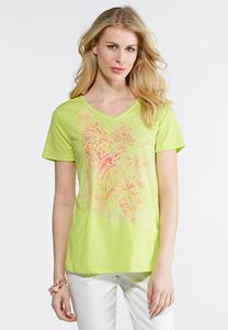 Plus Size Embellished Screen Print Bird Tee
