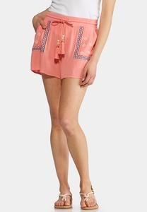 Embroidered Gauze Shorts
