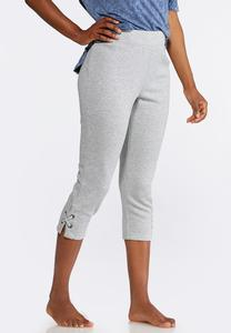 Heathered Lace Up Athleisure Crops