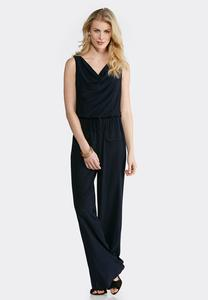 Plus Size Draped Tie Waist Jumpsuit
