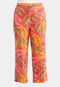 Plus Size Tropical Palm Palazzo Pants