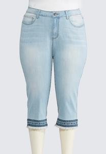Plus Size Geo Frayed Cropped Jeans