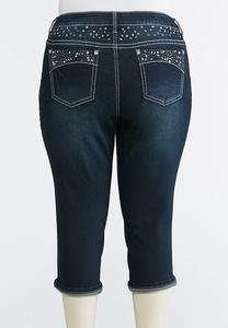 Plus Size Embellished Cropped Jeans