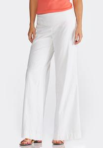 Wide Leg Pull-On Linen Pants