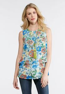 Plus Size Mesh Floral Tiered Tank