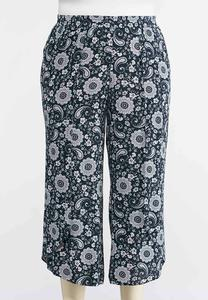 Plus Size Cropped Medallion Palazzo Pants
