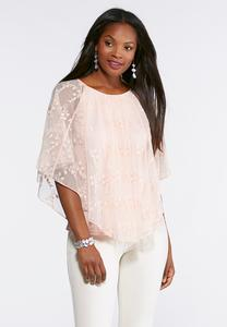 Plus Size Leaf Embroidered Capelet