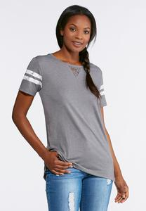 Plus Size Sporty Lace Trim Tee
