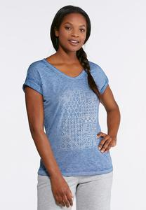 Plus Size Rolled Sleeve Graphic Metallic Tee