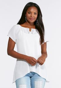 Lace Crepe Woven Top