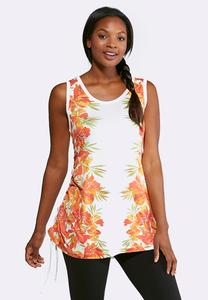 Plus Size Tropical Cinched Side Tunic Tank