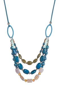 Beaded Faux Suede Cord Necklace