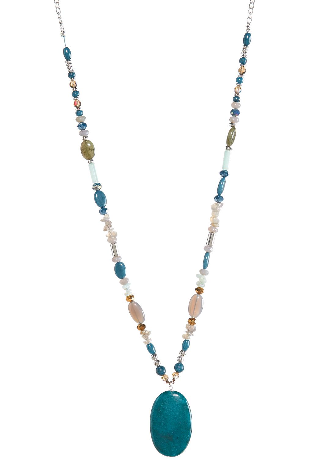 Bead and stone pendant necklace long cato fashions bead and stone pendant necklace mozeypictures Image collections