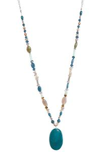 Bead And Stone Pendant Necklace