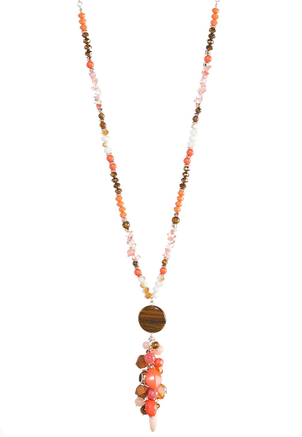 Long beaded cluster pendant necklace long cato fashions long beaded cluster pendant necklace aloadofball Image collections