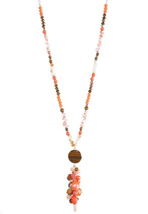Long Beaded Cluster Pendant Necklace