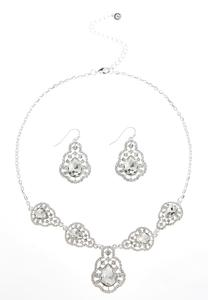 Scalloped Rhinestone Earring And Necklace Set