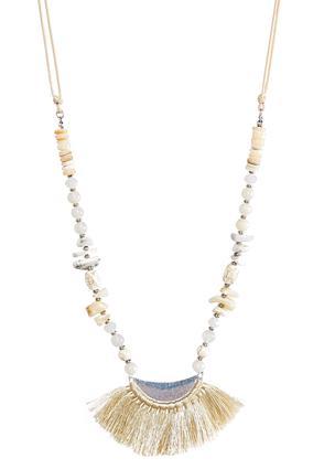 Beaded Tassel Fan Necklace | Tuggl