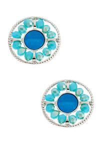 Blue Rondelle Button Earrings