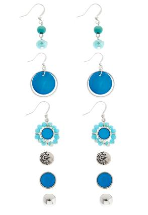 Blue And Silver Earring Set