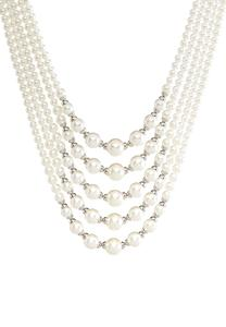 Multi Row Layered Pearl Necklace