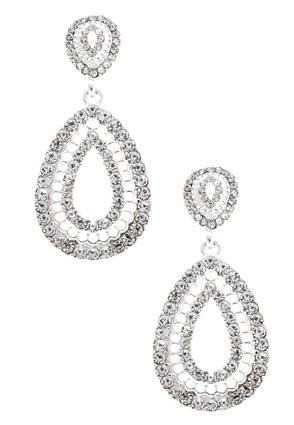 Oval Rhinestone Dangle Earrings | Tuggl