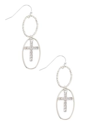 Dangling Oval Cross Earrings at Cato in Brooklyn, NY | Tuggl