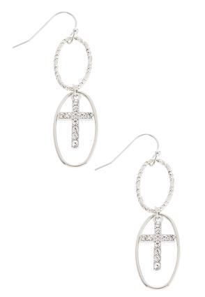 Dangling Oval Cross Earrings | Tuggl