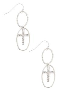 Dangling Oval Cross Earrings