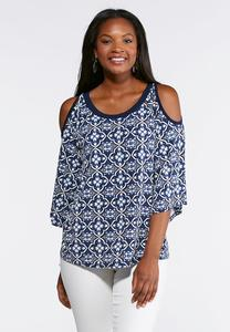 Plus Size Navy Puff Print Top