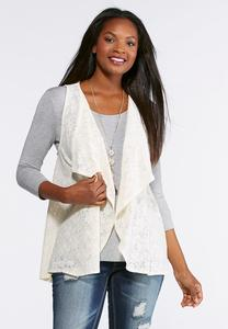 Plus Size Draped Ivory Lace Vest