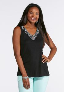 Plus Size Solid Bead Embellished Top