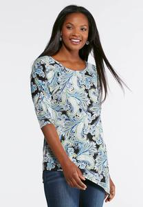 Plus Size Hues Of Blue Puff Paisley Top