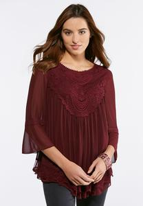 Plus Size Layered Mesh Lace Top
