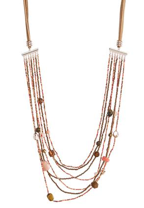 Layered Mixed Bead Cord Necklace at Cato in Brooklyn, NY | Tuggl