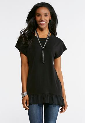 Plus Size Solid Ruffled Hem Top
