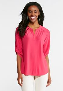 Plus Size Solid Popover Top
