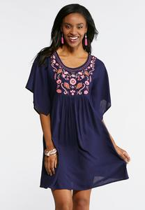 Embroidered Navy Swing Dress