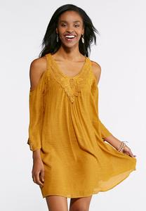 Cold Shoulder Lace Trim Dress