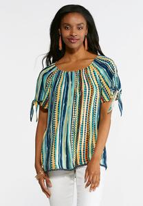 Plus Size Carnival Circle Tie Sleeve Top