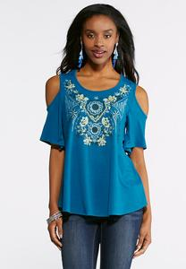 Plus Size Blue Embroidered Cold Shoulder Top