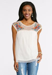 Plus Size Dot Mesh Embroidered Top