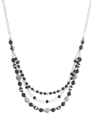 Multi Row Black and White Necklace | Tuggl